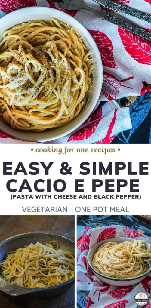Looking easy Italian recipes? Well, there's nothing easier than this easy Cacio e Pepe pasta recipe! It literally takes as long as cooking your pasta and it is so delicious! #cookingforone #30minutemeals #singleserving #recipeforone #foodrecipe #pastarecipe #dinnerideas #vegetariandish | italian meals | italian dinner recipes | best italian dishes | dinner recipes italian | italian dinner | italian dish | italian easy recipes | easy italian dinner | easy italian recipes | Vegetarian dish | Meat-free dish