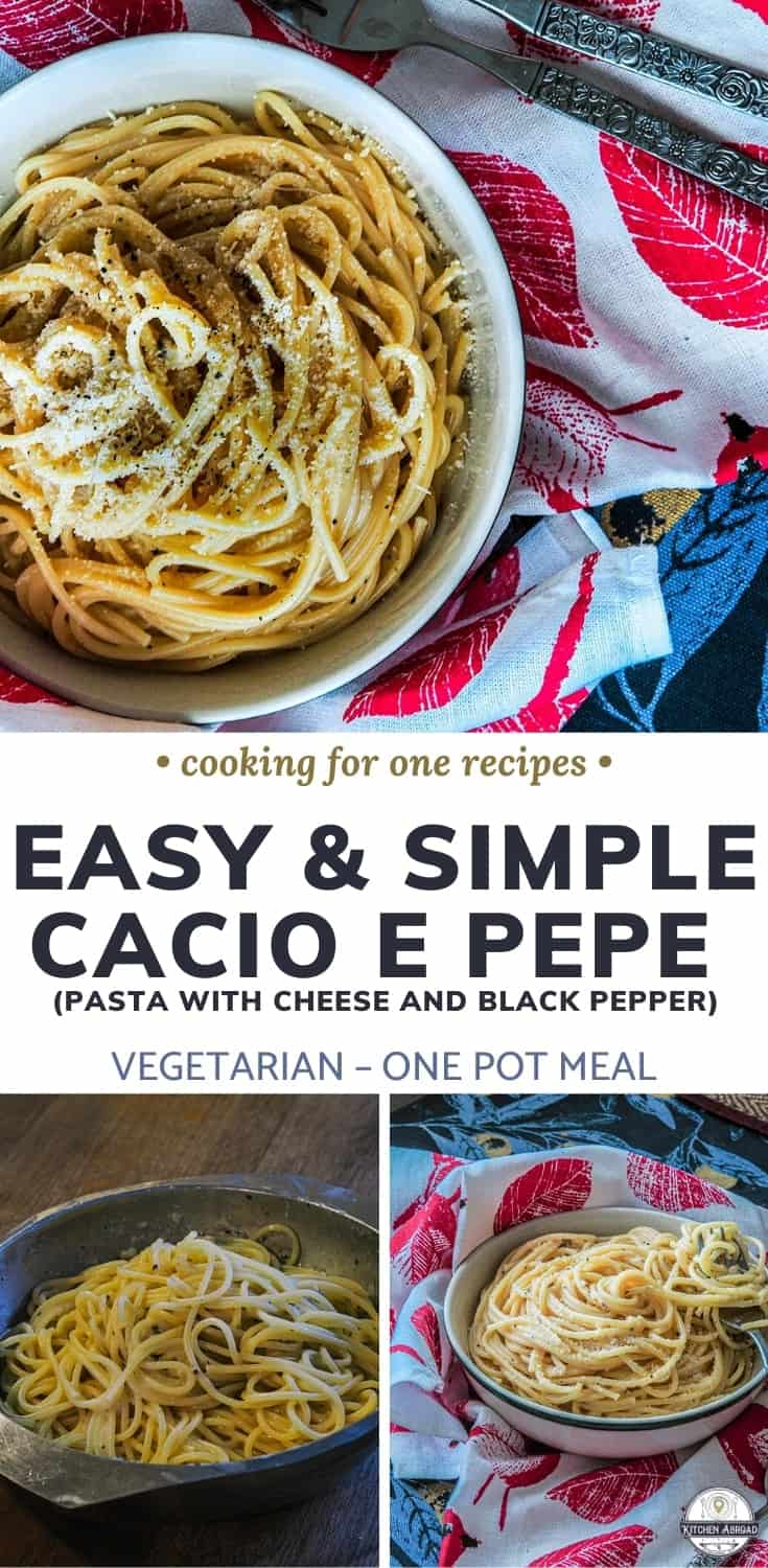 Looking easy Italian recipes? Well, there's nothing easier than this easy Cacio e Pepe pasta recipe! It literally takes as long as cooking your pasta and it is so delicious! #cookingforone #30minutemeals #singleserving #recipeforone #foodrecipe #pastarecipe #dinnerideas #vegetariandish | italian meals | italian dinner recipes |best italian dishes | dinner recipes italian | italian dinner | italian dish | italian easy recipes | easy italian dinner |easy italian recipes |Vegetarian dish |Meat-free dish
