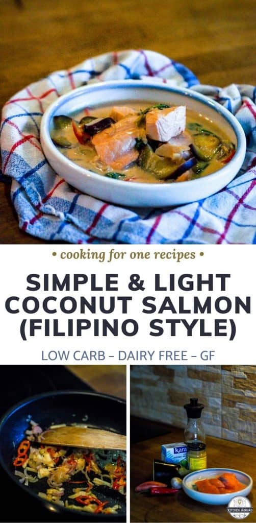 Looking for something easy and unique to make for dinner? Try this Filipino coconut salmon recipe also called paksiw na Salmon sa gata. This is really easy and delicious to make! Try it now or pin it for later. #cookingforone #30minutemeals #salmonrecipes #foodrecipes #filipinorecipes #filipinofood #dinnerideas #easyrecipe | recipes for salmon | salmon recipes easy | tasty salmon | healthy recipes salmon | healthy salmon dinner | salmon dinners | recipes salmon | salmon dish