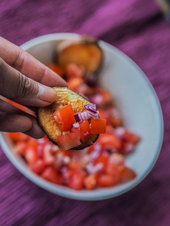 Crispy oven potatoes with salsa fresca