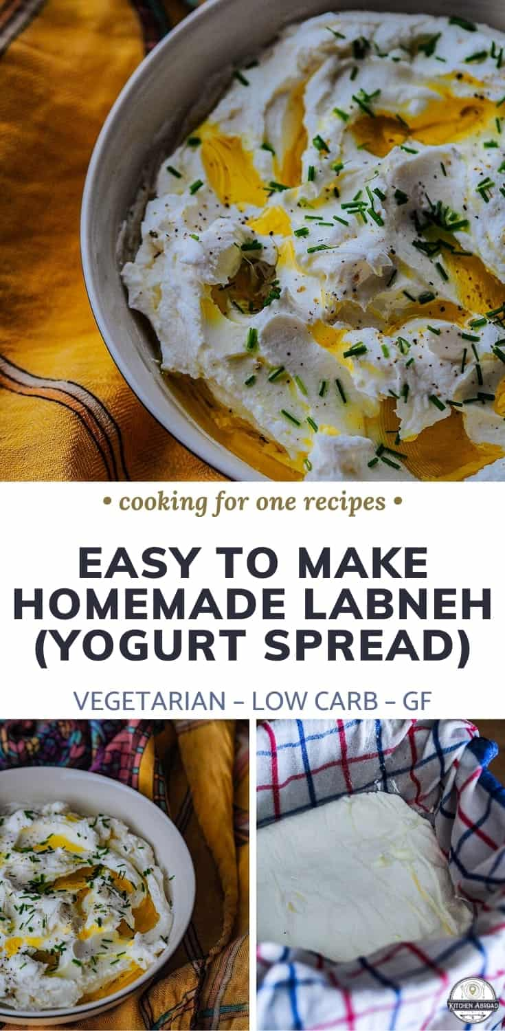 Do you want to try this delicious middle eastern yogurt dip called Labneh? This is so simple and easy to make and takes so little effort! Learn how to make this Labneh recipe or pin this for later! #labneh #middleeasterndish #foodrecipes #snackideas #dipideas #vegansides | Gluten free dinners | Keto