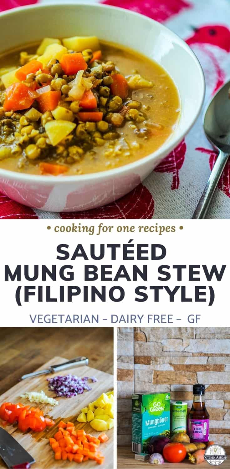 Do you want to try a new dish? Why not check out vegan mung bean recipes like this Filipino sauteed mung bean stew also called monggo guisado recipe! Try it now or pin it for later. #cookingforone #30minutemeals #foodrecipes #onepotmeal #stewideas | Vegan dinners | Vegetarian dinners