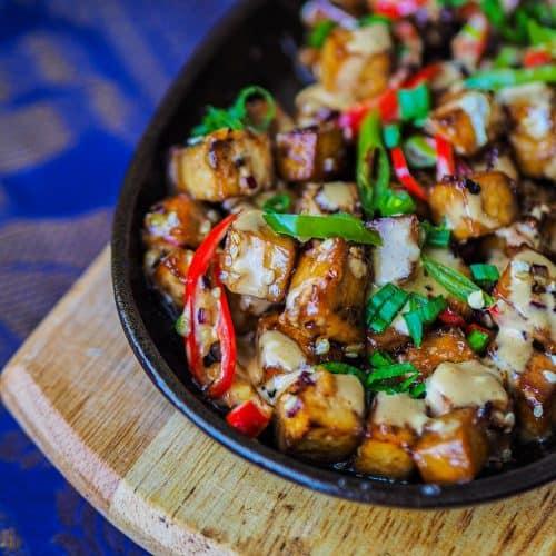 Filipino Style Sizzling Tofu Recipe (Tofu Sisig Recipe) sizzling tofu RECIPES, ASIAN, DAIRY FREE, DINNER IDEAS, FILIPINO, LUNCH IDEAS, MODERN, NUT FREE, ONE PAN MEALS, RICE & VIAND IDEAS, SNACK IDEAS, SUGAR FREE, VEGETARIAN