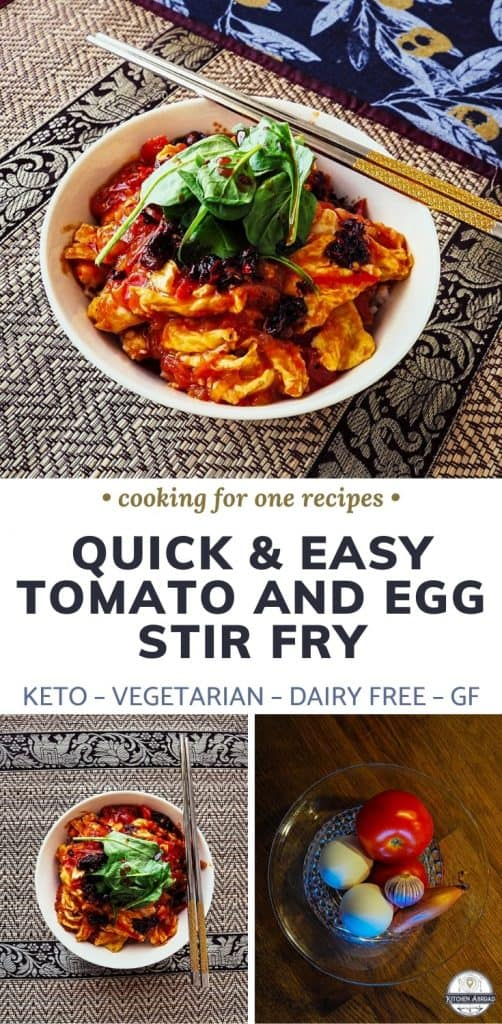 This is the easiest but tastiest egg recipe on the planet! Definitely one of my ultimate favorite dish to make. This Chinese scrambled eggs and tomatoes recipe takes only few minutes to make and requires only few ingredients. Try it now or pin this for later! #cookingforone #30minutemeals #singleserving #recipeforone #foodrecipes #onedishkitchen #easyrecipe #chinesedish | Gluten free dish | Dairy free dish | Keto