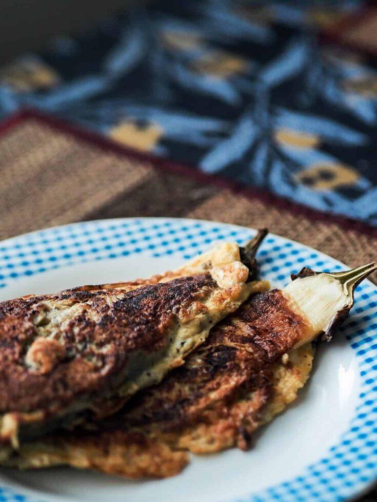 Vegetarian Filipino Eggplant Omelet Tortang Talong Recipe